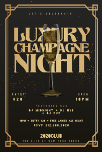 LUXURY CHAMPAGNE NIGHT Flyer Template แบนเนอร์ 4' × 6'