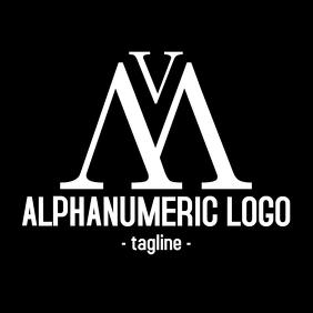 m and v alphanumeric logo black and white