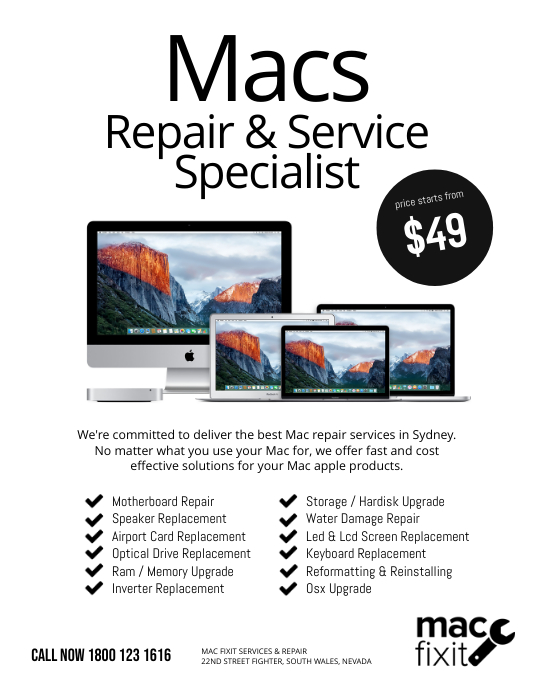 Mac Repair & Service Specialist Flyer Template