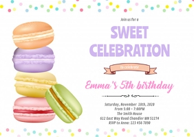 Macaron birthday party invitation A6 template