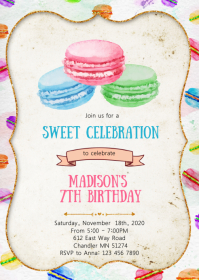 Macaroon birthday party invitation A6 template