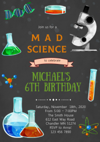 Mad science birthday party invitation A6 template
