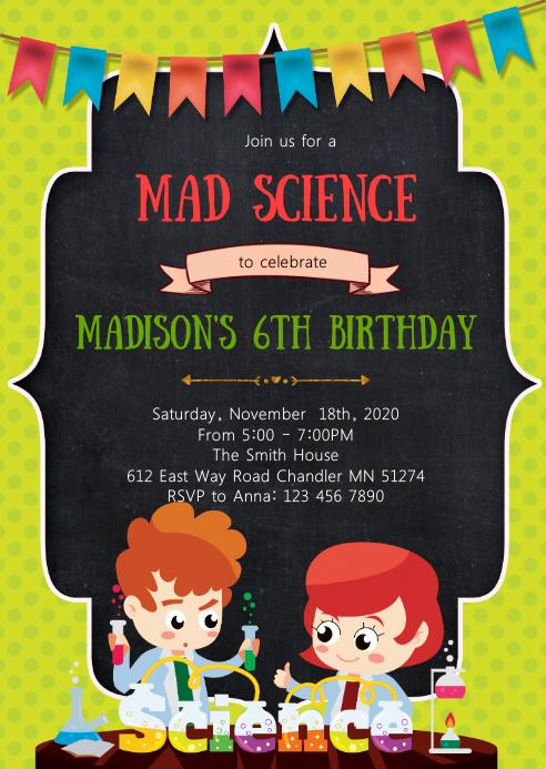 Mad science birthday party invitation