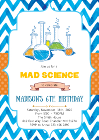 Mad science birthday party invitation