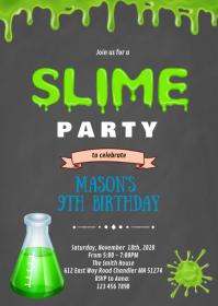 Mad science Slime birthday invitation