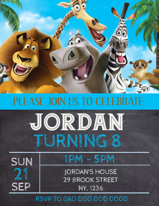 Madagascar Birthday Party Invitation Template Flyer (US Letter)