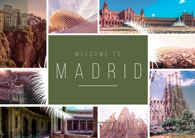 Madrid City Travel Photo Collage Kartu Pos template