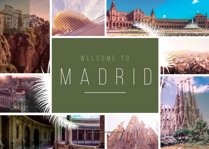 Madrid City Travel Photo Collage Postcard template