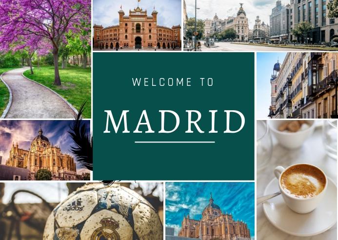 Madrid collage Postkort template