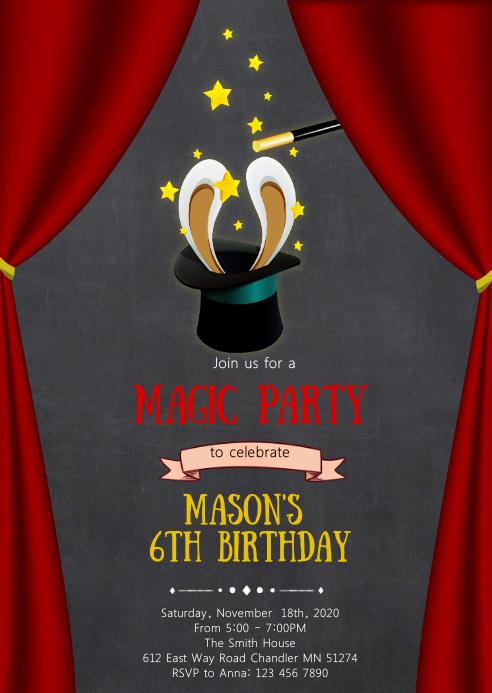 Magic birthday party invitation