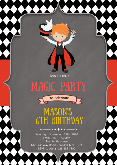 Magic birthday party invitation A6 template