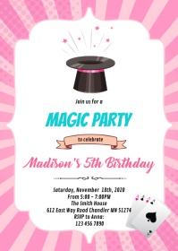 Magic girl birthday invitation A6 template