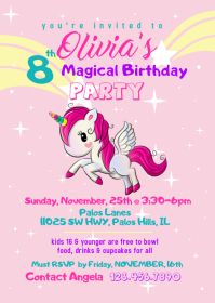 Magical Unicorn Birthday Invitation