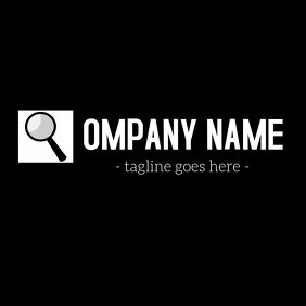 Magnifying glass black and white company logo