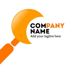 Magnifying glass orange logo design template