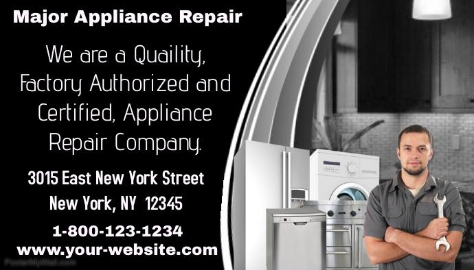 Major Appliance Repair Business Card