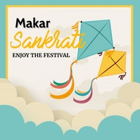 Makar sankrati,Basant, Kite Flying Instagram-Beitrag template