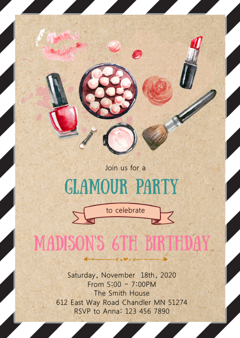 Make up birthday party invitation A6 template