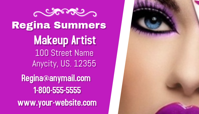Makeup artist business card template postermywall makeup artist business card customize template cheaphphosting Image collections