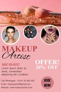 Makeup artist poster design template Плакат