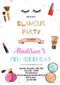 MAKEUP Spa slumber birthday invitation A6 template