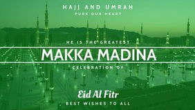 Makka Madina Celebrates Eid Al Fitr Template Video copertina Facebook (16:9)