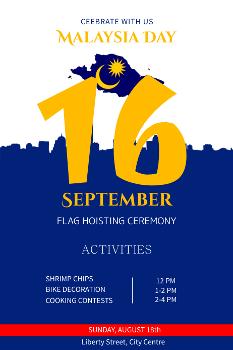Malaysia Day Flag Hoisting Poster Template | PosterMyWall