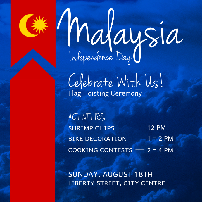 Malaysia Independence Day Blue Instagram Image