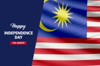 Malaysia Independence Day Banner 4' × 6' template