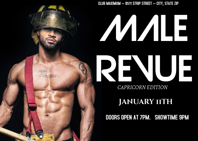 Male Revue Postkort template