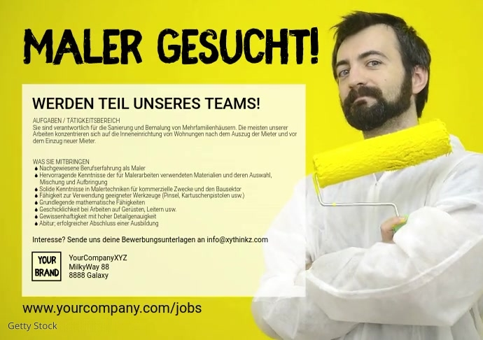 Maler gesucht Wanted Employee jobs Ad banner A4 template