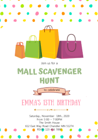 Mall scavenger hunt birthday party invitation A6 template