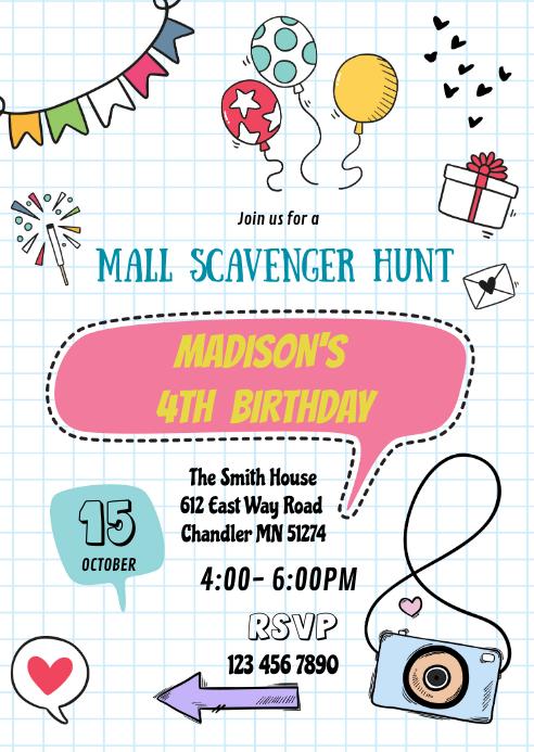 Mall Scavenger Hunt invitation A6 template