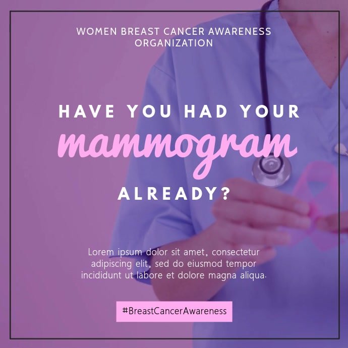 Mammogram Awareness Think Pink Video Ad Template Instagram Post