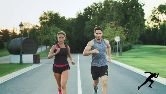Man and woman running on the road video YouTube 缩略图 template