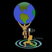 Man Holding Globe/Woman Holding Glass of Wate Логотип template
