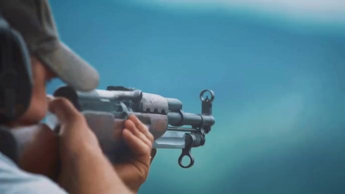 Man shooting from gun video YouTube Thumbnail template