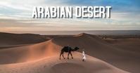 man walking with camel on desert delt Facebook-billede template