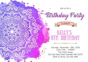 Mandala girl birthday invitation A6 template