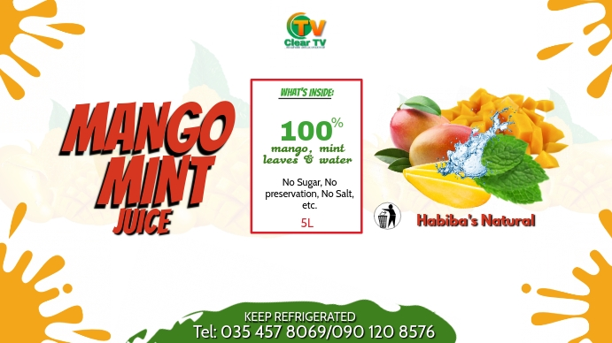 Mango Mint Fruit Juice Flyer Template Digitale Vertoning (16:9)