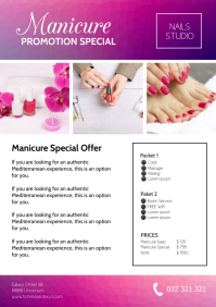 Manicure Promotion Special nails Studio ad A4 template