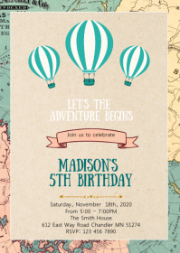 Map Travel birthday party invitation