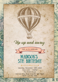 Map Travel birthday party invitation