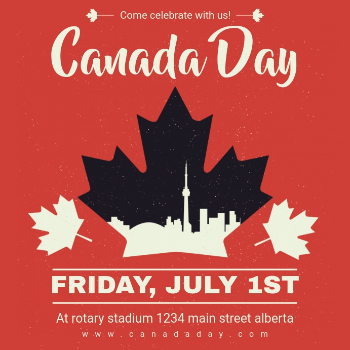 Maple Leaf Canada Day Instagram Post Ad