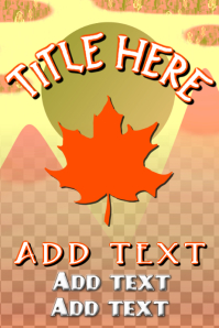maple leaf with light colored yellow and red mountain landscape template