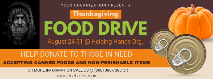 Maple Thanksgiving Feed the Homeless Drive Ba Foto Sampul Facebook template