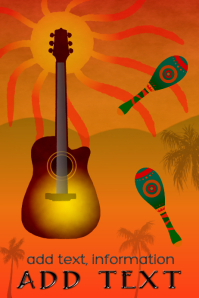 maracas & acoustic guitar at twilight evening or dawn poster