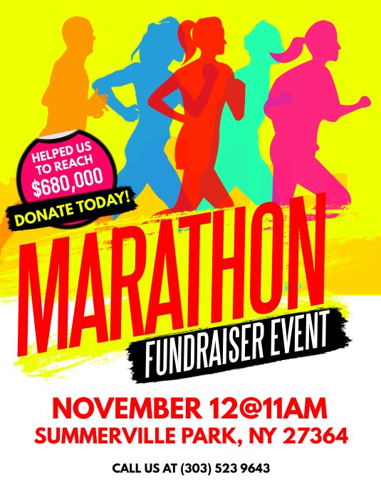 marathon fundraiser event flyer template