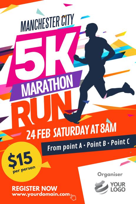 Marathon Run Fun Poster Template 海报
