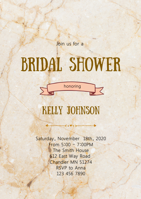 Marble bridal shower invitation A6 template